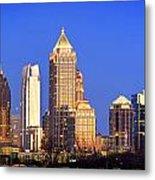 Atlanta Skyline At Dusk Midtown Color Panorama Metal Print