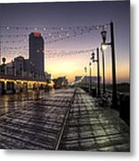 Atlantic City Boardwalk In The Morning Metal Print