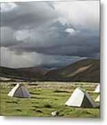 Atmospheric Grassy Camping Metal Print
