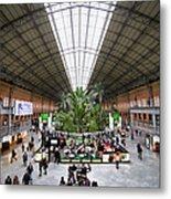 Atocha Railway Station Interior In Madrid Metal Print