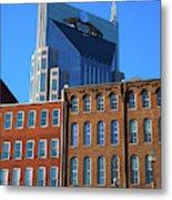 At&t Building And Historic Red Brick Metal Print
