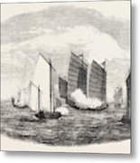 Attack On A Chinese Piratical Fleet By The Boats Of H Metal Print