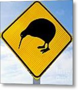 Attention Kiwi Crossing Road Sign Metal Print
