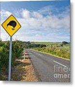 Attention Kiwi Crossing Roadsign At Nz Rural Road Metal Print