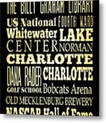 Attractions And Famous Places Of Charlotte North Carolina Metal Print by Joy House Studio