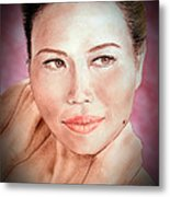 Attractive Asian Woman With Her Hair Pulled Back Fade To Black Vrsion Metal Print