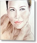 Attractive Asian Woman With Her Hair Pulled Back Metal Print