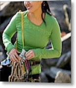 Attractive Female Climber Adjusting Metal Print
