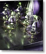 Aubergine Paris Wine Glasses Metal Print