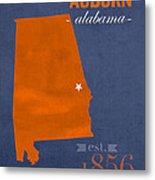 Auburn University Tigers Auburn Alabama College Town State Map Poster Series No 016 Metal Print