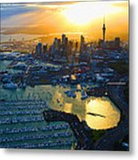 Auckland Oil On Canvaz Metal Print