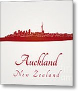 Auckland Skyline In Red Metal Print