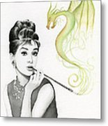 Audrey And Her Magic Dragon Metal Print by Olga Shvartsur