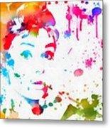 Audrey Hepburn Paint Splatter Metal Print