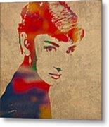 Audrey Hepburn Watercolor Portrait On Worn Distressed Canvas Metal Print