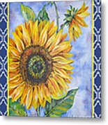 Audrey's Sunflower With Boarder Metal Print
