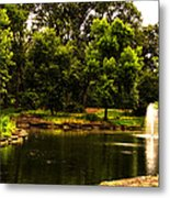 August By The Fountain Metal Print