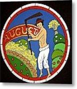 August - Threshing Wheat Metal Print