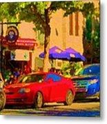 Aupres De Ma Blonde Resto Bar Terrasse Rue St Denis Montreal Cafe Street Scene Art Carole Spandau Metal Print