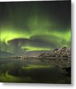Aurora Borealis From The Beach Metal Print