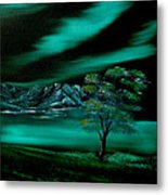 Aurora Borealis In Oils. Metal Print by Cynthia Adams