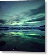 Aurora Borealis Over Lake Metal Print
