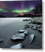 Aurora Borealis Over Sandvannet Lake Metal Print
