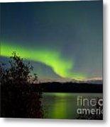 Aurora Borealis Reflected On Lake Laberge Yukon Metal Print