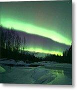 Aurora Over Ice Metal Print