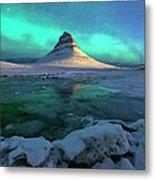 Aurora Over Kirkjufell Mountain Iceland Metal Print