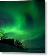 Aurora Over Lake Tornetrask Metal Print