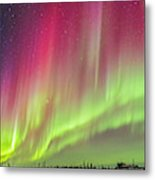 Aurora Panorama Over Northern Studies Metal Print