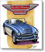 Austin Healey 3000 Blue-white Metal Print