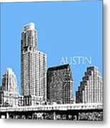 Austin Skyline - Sky Blue Metal Print