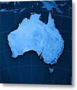 Australia Topographic Map Metal Print