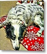 Australian Shepherd Happy Holidays Metal Print