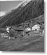 Austrian Village Monochrome Metal Print