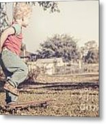 Authentic Faded Brown Vintage Skater Child Metal Print