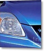 Automobile Head Light Blue Car Metal Print