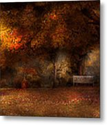 Autumn - A Park Bench Metal Print by Mike Savad