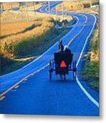 Autumn Amish Buggy Ride Metal Print
