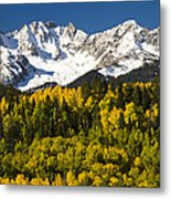 Autumn And Snow Covered Peaks North Metal Print