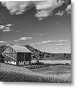 Autumn Barn Monochrome Metal Print