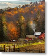 Autumn - Barn - The End Of A Season Metal Print by Mike Savad