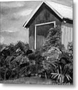 Autumn Barn - Upclose Cropped - Black And White Metal Print