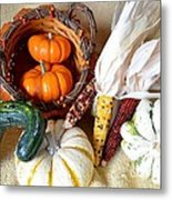 Autumn Basketful With Corn Metal Print