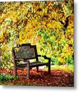 Autumn Bench In The Garden  Metal Print