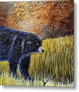 Autumn Black Bear Metal Print