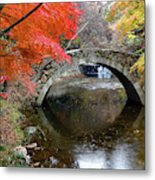 Autumn Color And Old Stone Arched Metal Print