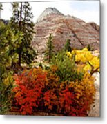 Autumn Colors In Zion's Highlands-ut Metal Print